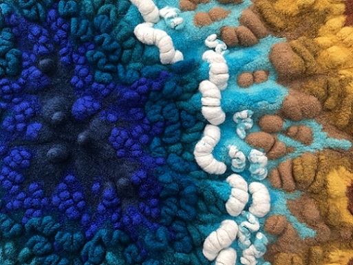 The sea, the sea, 2017, felted hand knitting, detail